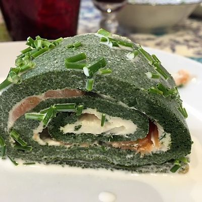 Spinach and smoked salmon roulé- gluten free