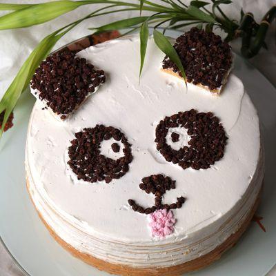 Panda gâteau de crêpes praliné coco