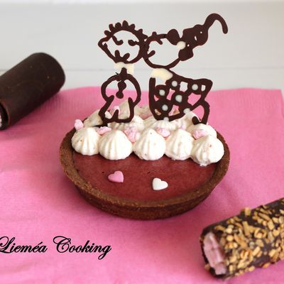 Tartelette des amoureux chocolat, framboise, dragée