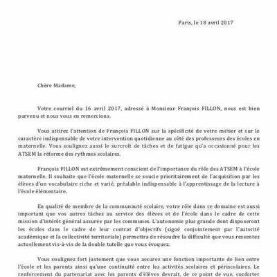 REPONSE DE MR FILLON