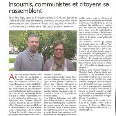 Philippe Pellegrini et Christine Evain, candidats de rassemblement de la vraie gauche, acteurs du mouvement syndical et associatif dans la 5ème circonscription des Alpes Maritimes (article du Patriote Côte d'Azur à paraitre demain)