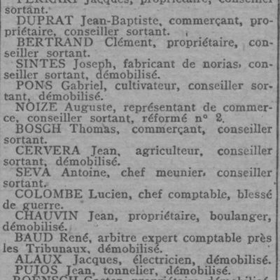 Elections Municipales de 1919.