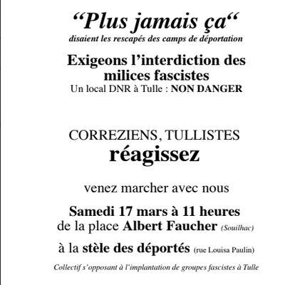 Marche du 17 mars contre l'implantation de groupes fascistes à Tulle : participation du Mouvement de la Paix de Corrèze