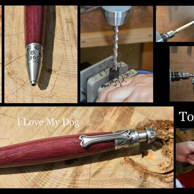 "Stylo ""I Love My Dog"" en bois"