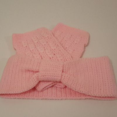 Headband et mitaines rose
