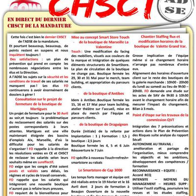 CHSCT ADSE 10 Avril 2018