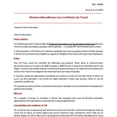 Circulaire n° 89-2020, du Secrétariat Général