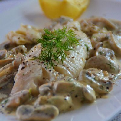 Whiting with Creamy Mushroom Sauce
