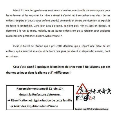 Sinistre 11 juin dans l'Yonne, une famille a été éclatée, une partie expulsée, l'autre est à la rue. Rassemblement samedi 22. Il faudra être nombreux.