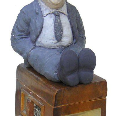 grosse tete portrait de philippe bouvard sculpture humoristique