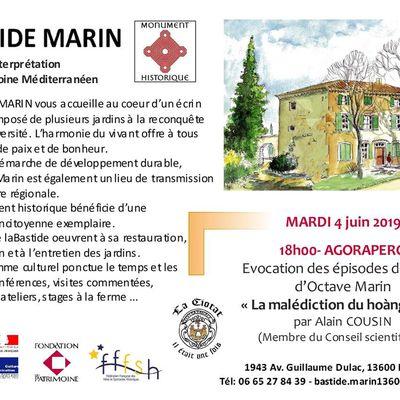 Mardi 4 juin 2019 à 18h - Agorapéro autour d'Octave MARIN par Alain Cousin