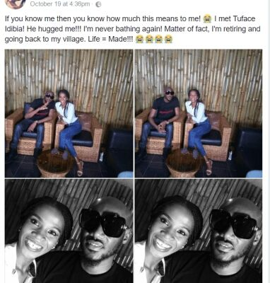 Lady Sarcastically Proclaims To Cease Bathing Because 2Face Hugged Her