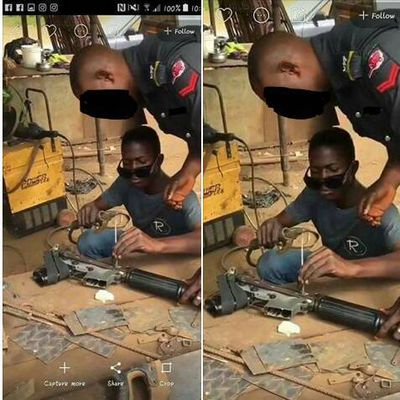 Wonders shall never end!  See what a policeman caught doing with his gun at a welder shop