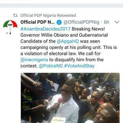 Anambra Election: PDP gives reason why Obiano should be disqualified. Check out