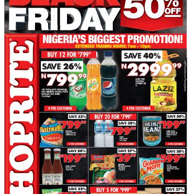 Shoprite Nigeria offers unbelievable discount in Black Friday Sales