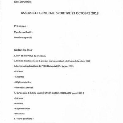 23 OCTOBRE: ASSEMBLEE SPORTIVE