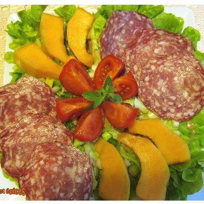 Salade rosette melon tomate