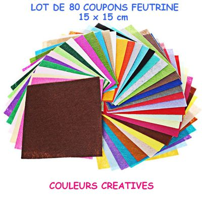 PROMO LOT DE 80 COUPONS FEUTRINE 15 x 15 cm