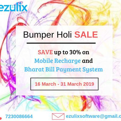 Bumper Holi Sale- Get 30% Discount on Mobile Recharge & BBPS Software