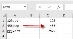Extraire les nombres de cellules Excel