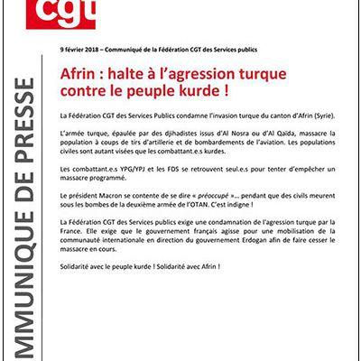 Fédé CGT des Services Publics : halte à l'agression turque sur Afrin !