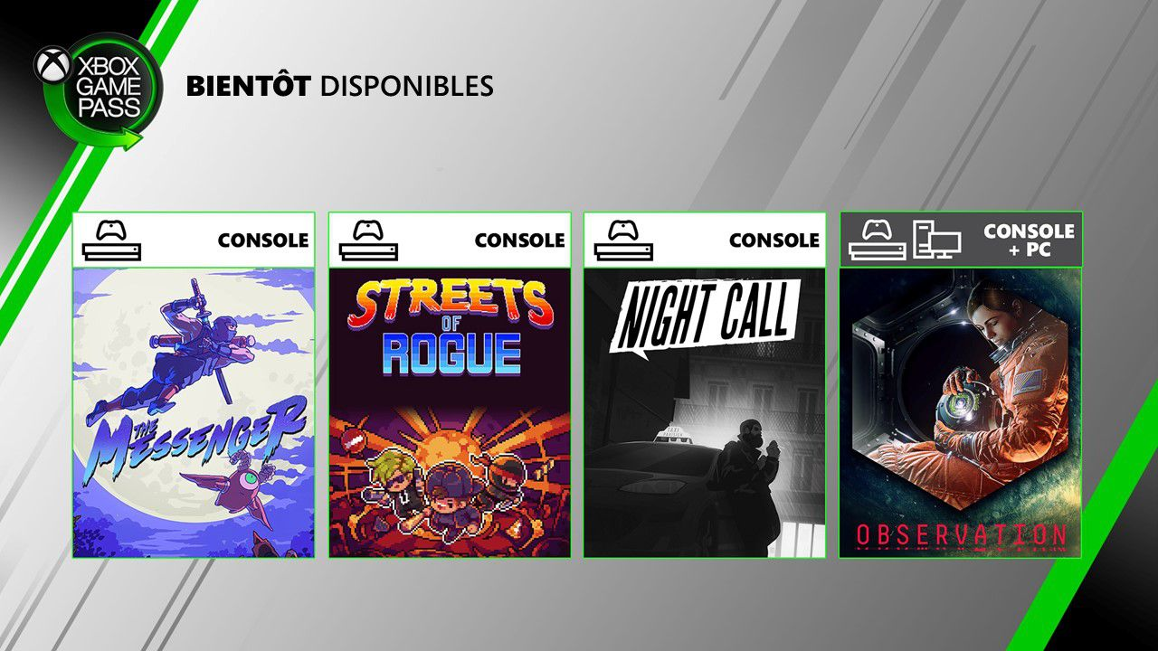 [ACTUALITE] Xbox Game Pass : Night Call, Streets of Rogue et Observation arrivent