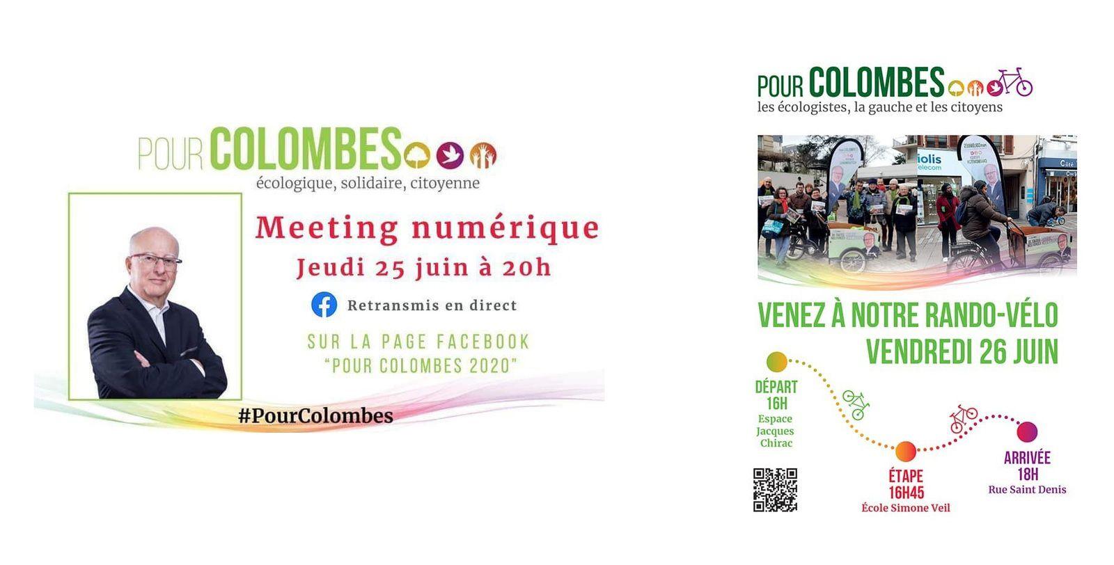 1er Meeting numérique sur Colombes jeudi 25 juin 20h et RANDO vélo vendredi 26 de 16h à 18h avec Patrick CHAIMOVITCH et la liste #PourColombes