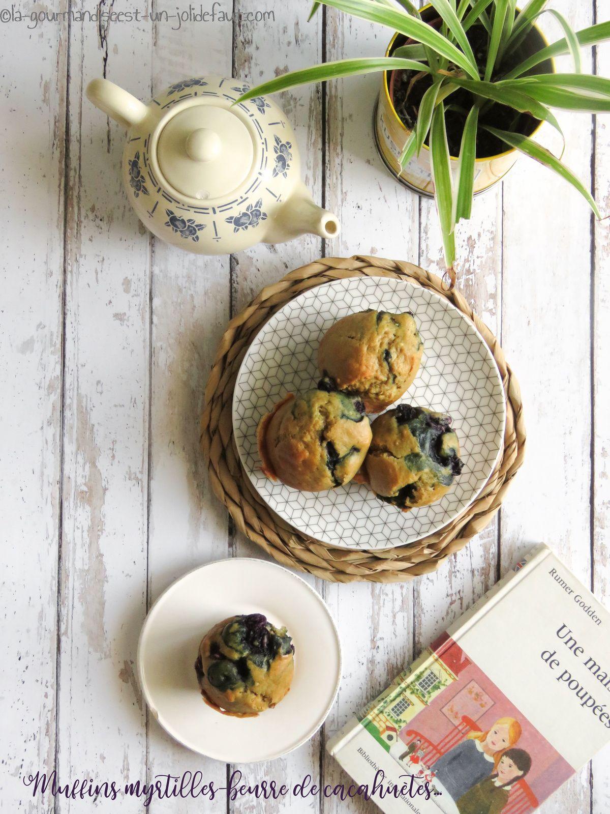 Muffins aux myrtilles et beurre de cacahuètes