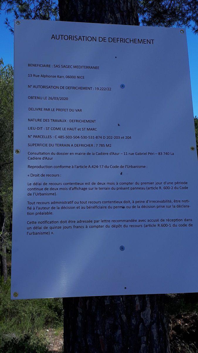 NOUVEAU PERMIS DE CONSTRUIRE ACCORDÉ A LA CADIÈRE D'AZUR