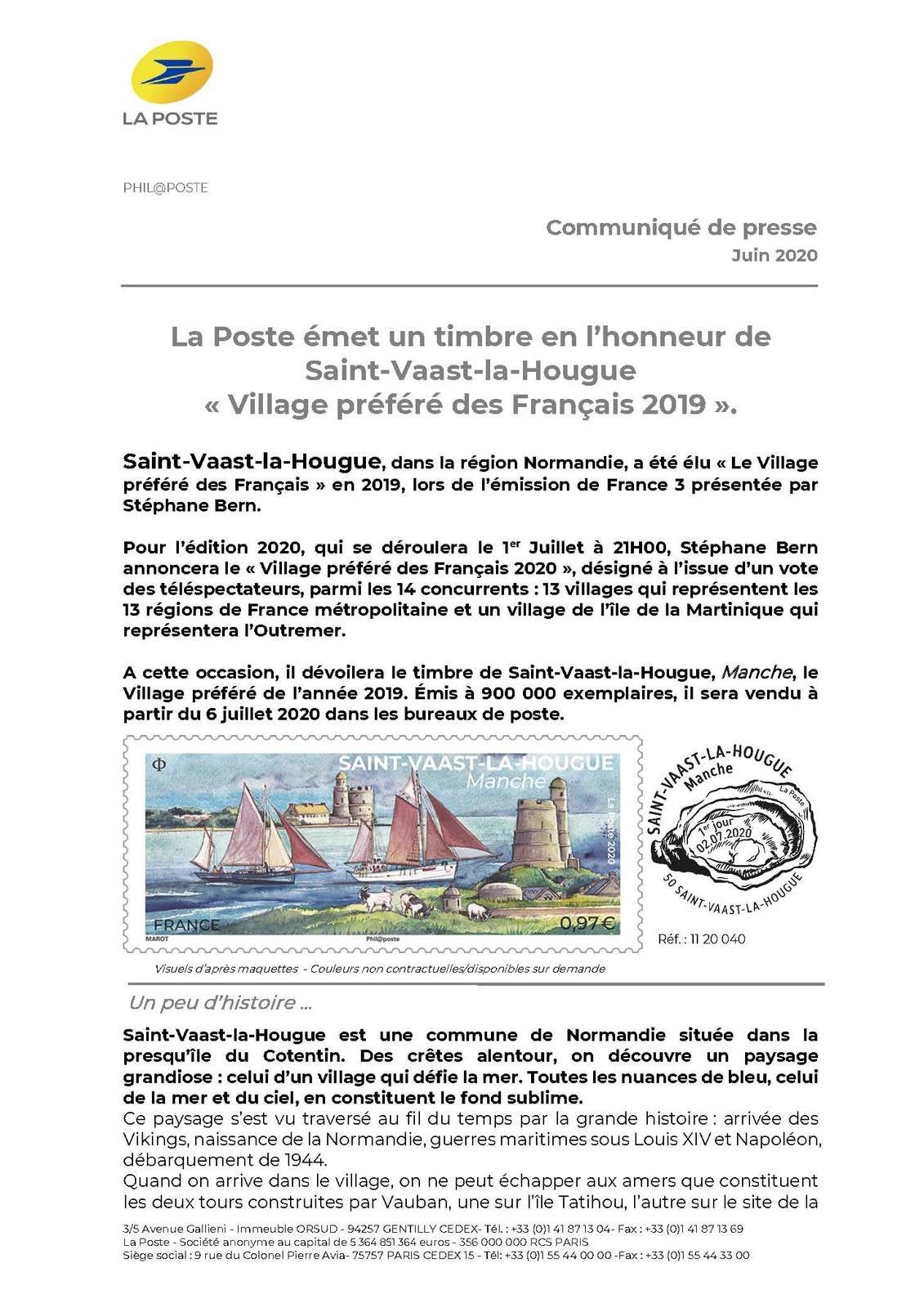 Programme philatélique 2020 Saint-Vaast-la-Hougue